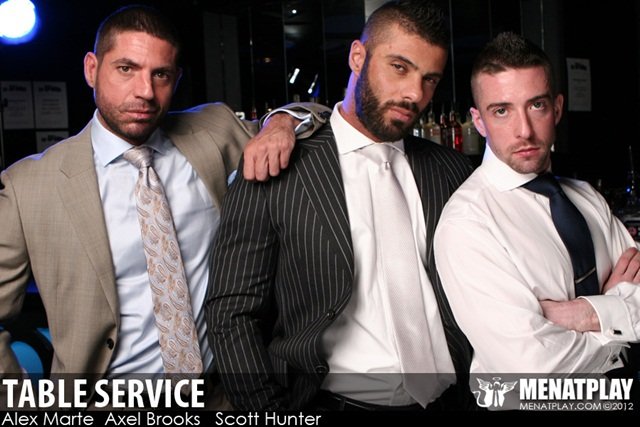 Men at play Table Service Alex Marte Axel Brooks Scott Hunter bottom boy aggressive tops 001 photo Men at Play: Alex Marte, Axel Brooks and Scott Hunter