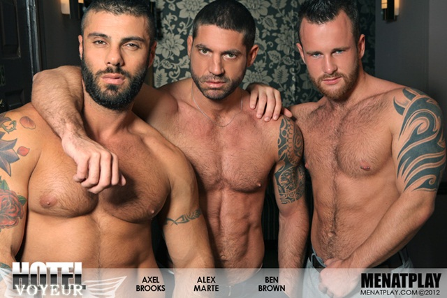 Alex-Marte-Ben-Brown-and-Axel-Brooks-in-Hotel-Voyeur-at-Men-at-Play-1-Ripped-Muscle-Bodybuilder-Strips-Naked-and-Strokes-His-Big-Hard-Cock-photo