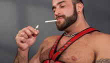 Leather-man-Spencer-Reed-abuses-and-dominates-power-bottom-Troy-Daniels-01-Ripped-Muscle-Bodybuilder-Strips-Naked-and-Strokes-His-Big-Hard-Cock-photo