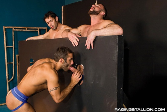 Glory-hole-ass-fuck-fest-threesome-Spencer-Reed-and-Alexander-Garrett-with-Jason-Michaels-01-Ripped-Muscle-Bodybuilder-Strips-Naked-and-Strokes-His-Big-Hard-Cock-photo-image