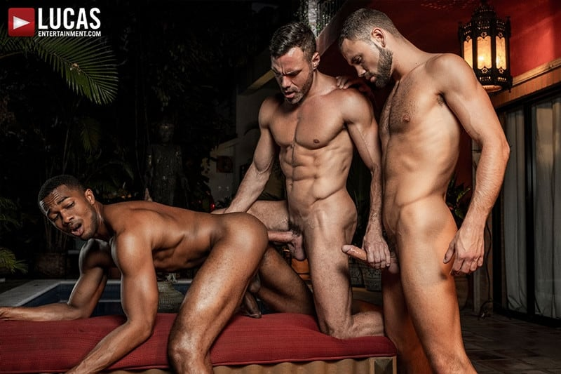 Men for Men Blog MANUEL-SKYE-JEFFREY-LLOYD-SEAN-XAVIER-SUNSET-SEX-LucasEntertainment-022-gay-porn-pictures-gallery Jeffrey Lloyd bareback fucks Sean Xavier before he takes Manuel Skye's big muscle cock Lucas Entertainment