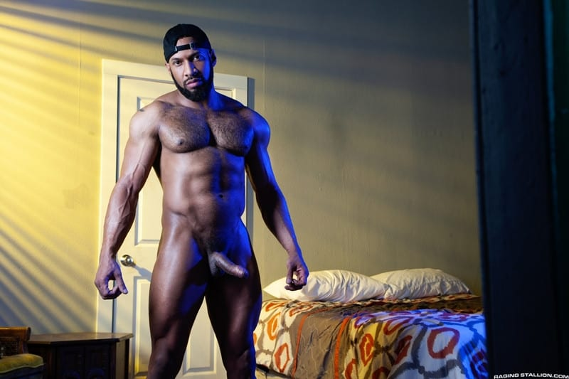 Jay Landford Lorenzo Flexx bareback fucking big black cock muscle ass hole RagingStallion 006 gay porn pictures gallery - Jay Landford takes ownership of Lorenzo Flexx's hole with passionate kisses and long driving thrusts of his raw glistening cock