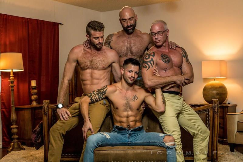 Casey Everett's hot ass takes Link Parker, Ryan Carter and Drew Sebastian's huge dicks