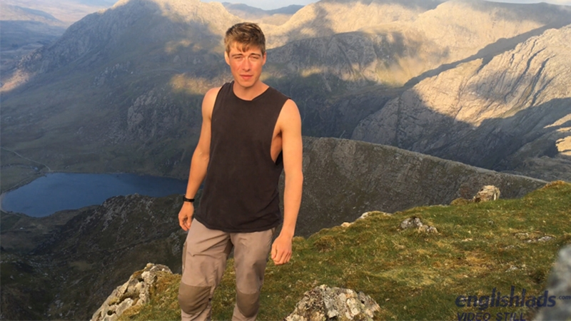 Hot straight action man Henry Kane jerks his huge uncut dick on a mountainside in Wales