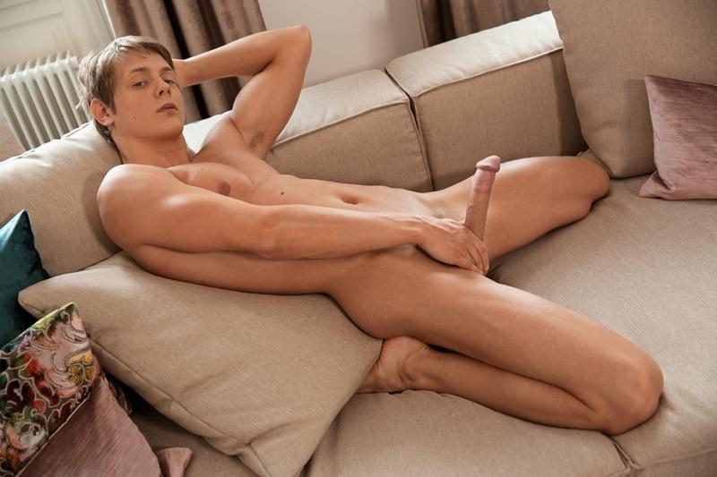 Hottie young Belami boy Eluan Jeunet stripped naked wanking his huge uncut twink dick