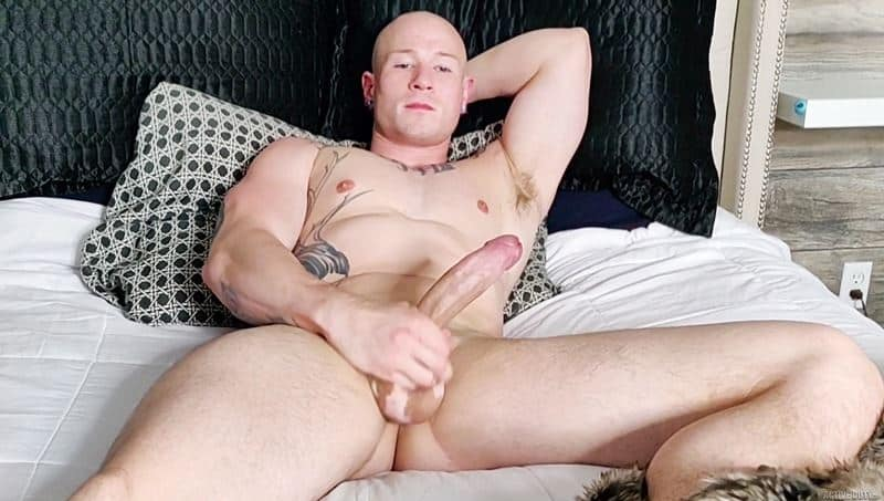 Hot bald muscle dude Niko Carr jerks his fat cock to a huge cum shot across his abs