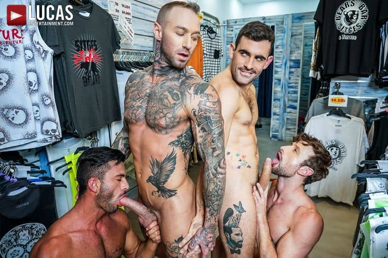 Hardcore barebacking foursome Andy Star, Drew Dixon, Dylan James and Max Arion big muscle raw dick fucking