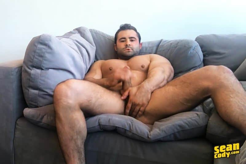 Hottie muscle dude Sean Cody Reese strips and jerks out a huge cum load