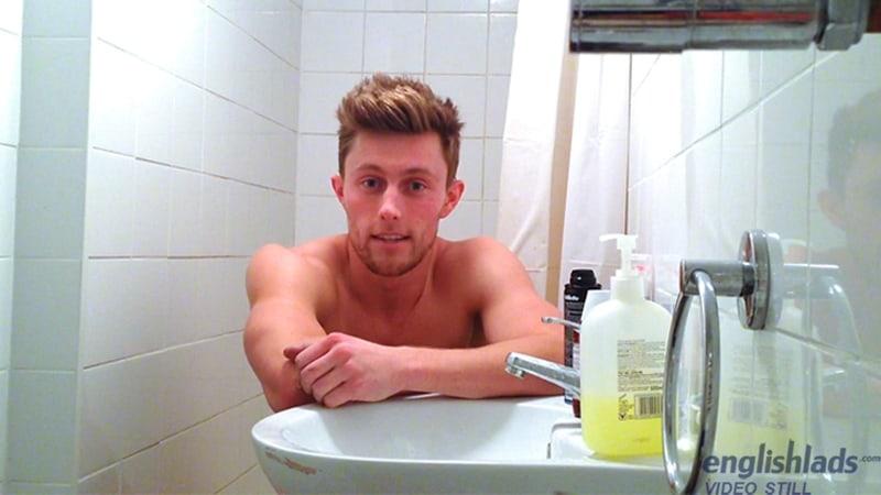 Hottie young British dude Cameron Donald's cheeky shower wank jerking his huge uncut cock