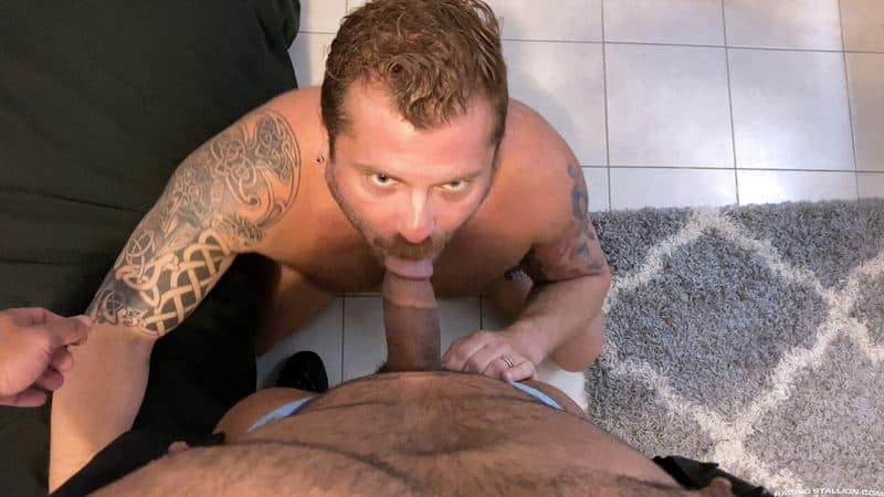 Riley Mitchel takes Zack Mitchel's big dick in multiple positions before erupting with thick ropes all over his hairy abs
