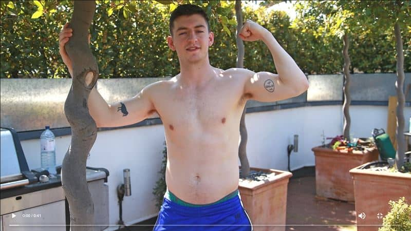 Young straight boxer James Wilson strips naked wanking his huge uncut cock blowing his load all over himself