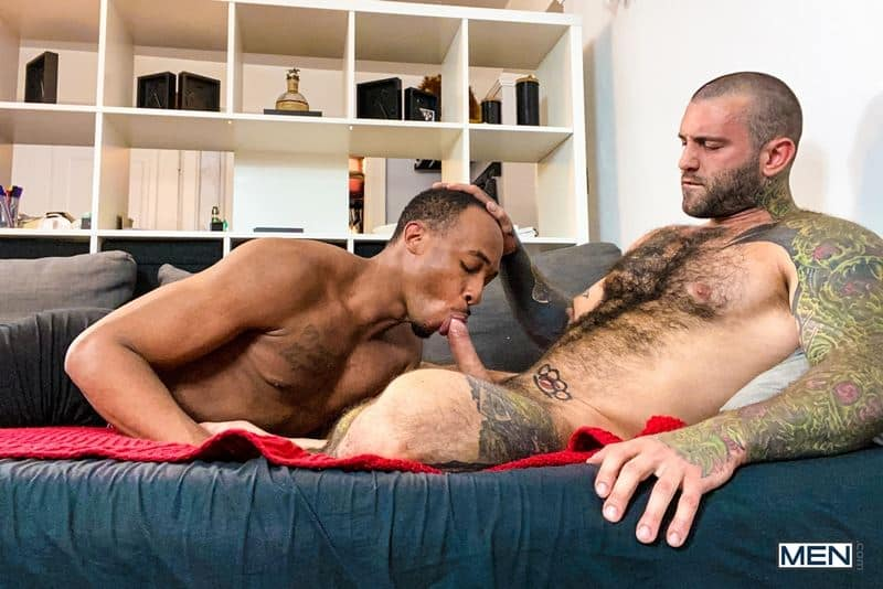 Hot black stud Trent King's tight hole bareback fucked by hairy muscle hunk Markus Kage's huge cock