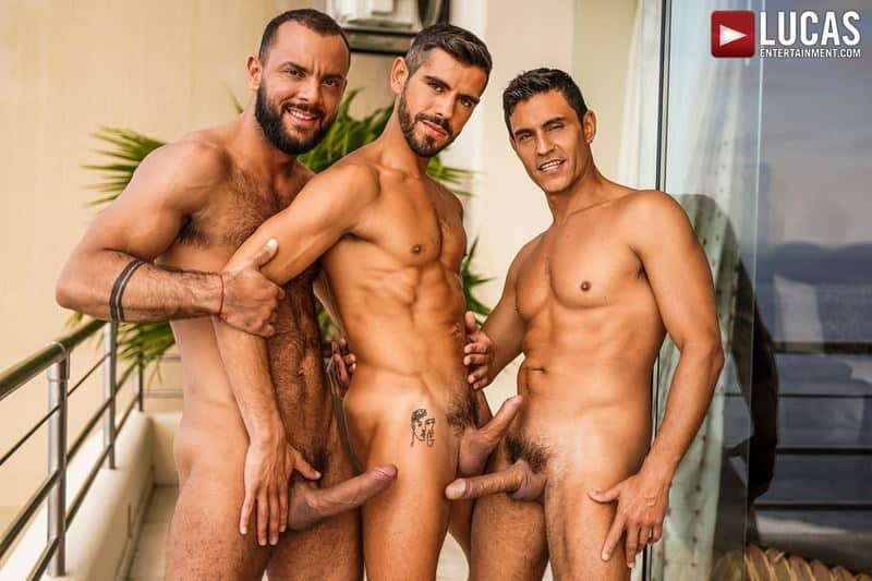 Hot hairy muscle dudes Sir Peter Rafael Carreras huge dicks double fuck Valentin Amour hot bubble ass 001 gay porn pics - Hot hairy muscle dudes Sir Peter and Rafael Carreras's huge dicks double fuck Valentin Amour's hot bubble ass