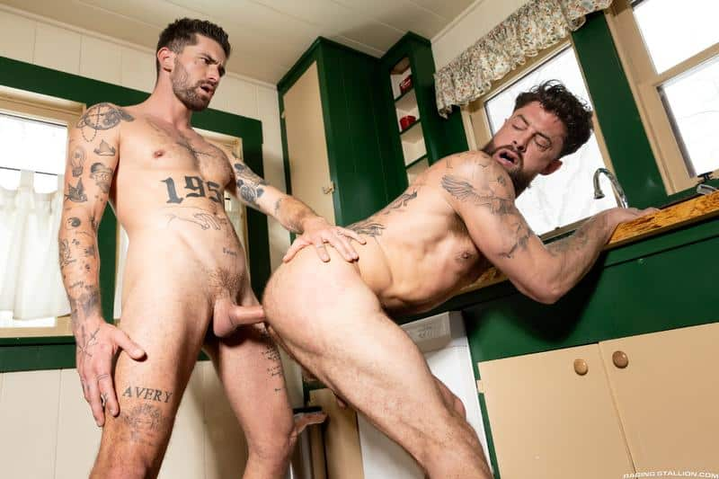 Sexy tattooed muscle dude Chris Damned raw fucks bearded hunk Alpha Wolfe hot bubble butt 10 gay porn pics - Sexy tattooed muscle dude Chris Damned raw fucks bearded hunk Alpha Wolfe's hot bubble butt