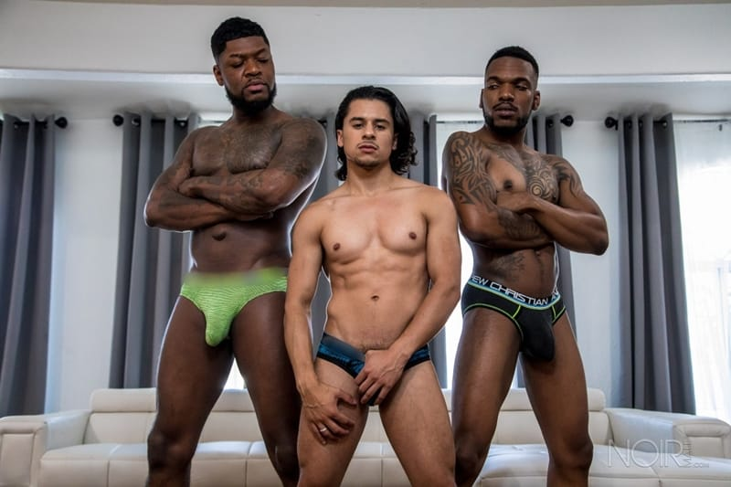 Sexy young dudes Aaron Reese Armond Rizzo Cali huge black uncut dick 001 gayporn pics  - Sexy young dudes Aaron Reese and Armond Rizzo fight over Cali's huge black uncut dick