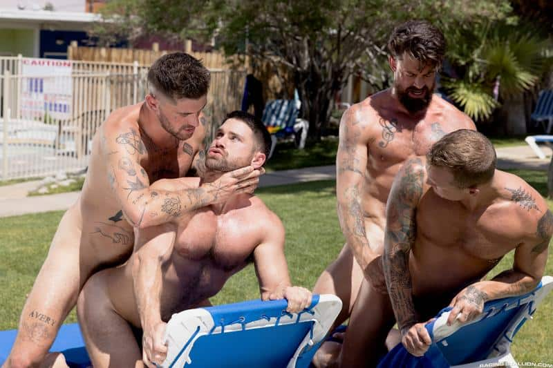 Gay hardcore outdoors foursome Chris Damned Isaac X Beau Butler Alpha Wolfe bareback anal fucking 11 gay porn pics - Gay hardcore outdoors foursome Chris Damned, Isaac X, Beau Butler and Alpha Wolfe bareback anal fucking