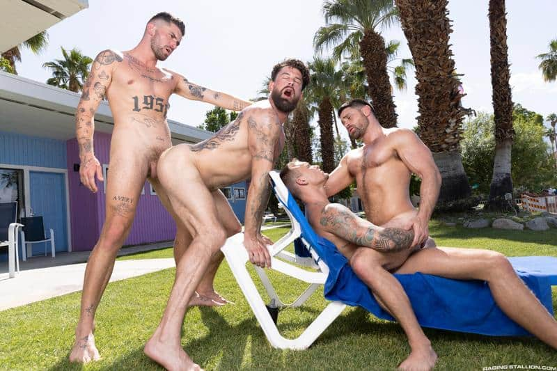 Gay hardcore outdoors foursome Chris Damned Isaac X Beau Butler Alpha Wolfe bareback anal fucking 12 gay porn pics - Gay hardcore outdoors foursome Chris Damned, Isaac X, Beau Butler and Alpha Wolfe bareback anal fucking