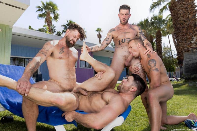 Gay hardcore outdoors foursome Chris Damned Isaac X Beau Butler Alpha Wolfe bareback anal fucking 14 gay porn pics - Gay hardcore outdoors foursome Chris Damned, Isaac X, Beau Butler and Alpha Wolfe bareback anal fucking