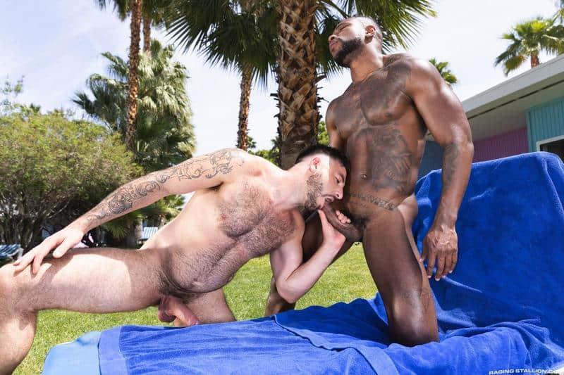 Interracial sexy black muscle stud Reign bareback fucks hairy hunk Ian Holms 0 gay porn pics - Interracial sexy black muscle stud Reign's bareback fucks hairy hunk Ian Holms