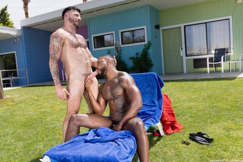 Interracial sexy black muscle stud Reign bareback fucks hairy hunk Ian Holms 1 gay porn pics - Interracial sexy black muscle stud Reign's bareback fucks hairy hunk Ian Holms