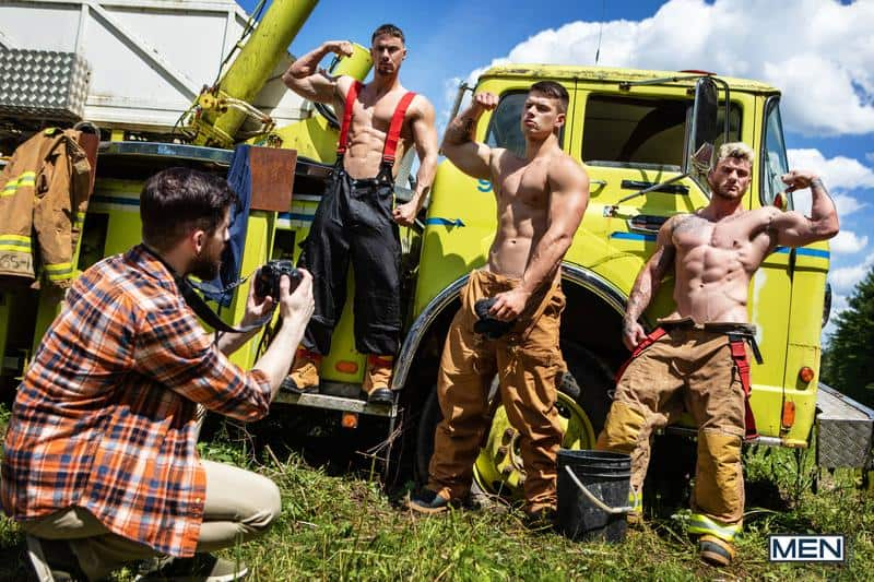 Firefighters Skyy Knox hot holes double fucked muscled hunks William Seed Malik Delgaty huge dicks 0 gay porn pics - Firefighters Skyy Knox's hot holes double fucked by muscled hunks William Seed and Malik Delgaty's huge dicks