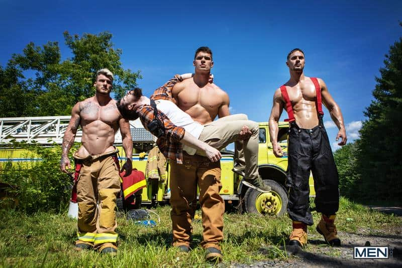 Firefighters Skyy Knox hot holes double fucked muscled hunks William Seed Malik Delgaty huge dicks 13 gay porn pics - Firefighters Skyy Knox's hot holes double fucked by muscled hunks William Seed and Malik Delgaty's huge dicks