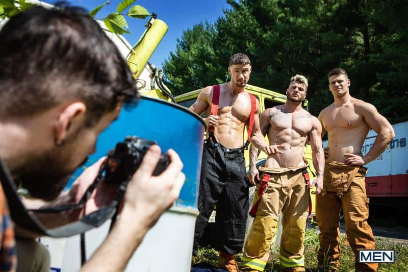 Firefighters Skyy Knox hot holes double fucked muscled hunks William Seed Malik Delgaty huge dicks 14 gay porn pics - Firefighters Skyy Knox's hot holes double fucked by muscled hunks William Seed and Malik Delgaty's huge dicks