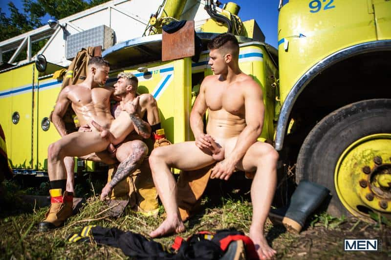 Firefighters Skyy Knox hot holes double fucked muscled hunks William Seed Malik Delgaty huge dicks 17 gay porn pics - Firefighters Skyy Knox's hot holes double fucked by muscled hunks William Seed and Malik Delgaty's huge dicks