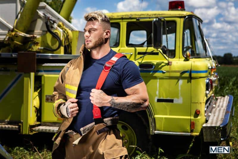 Firefighters Skyy Knox hot holes double fucked muscled hunks William Seed Malik Delgaty huge dicks 8 gay porn pics - Firefighters Skyy Knox's hot holes double fucked by muscled hunks William Seed and Malik Delgaty's huge dicks